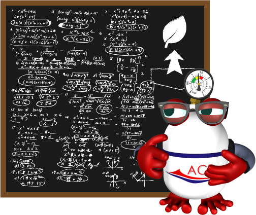 Mascota de ACR Piscines estudiando el mantenimiento de una piscina.